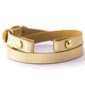 ORIGAMI OWL 💛 Gold Leather Wrap Bracelet
